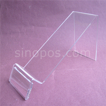Acrylic Shoe Flat Easel With Tag Holder, clear shoes riser slanted display stand brackets sandal price label exhibition show