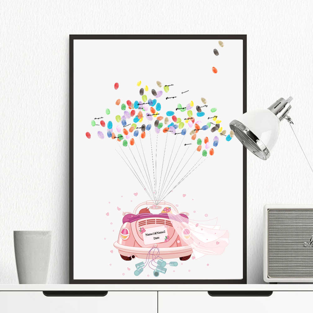 HAOCHU Custom Canvas Print Wedding Car fingerprints Gift Favors Wedding Decoration Souvenir For Bridal Shower Guestbook Poster