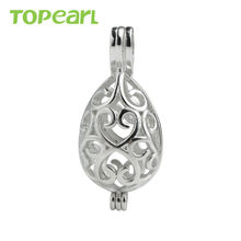 SWP35 Topearl Jewelry 5pcs/LOT 925 Sterling Silver Cage Pendant Hollow Oval Cage Love Wish Pearl Pendant