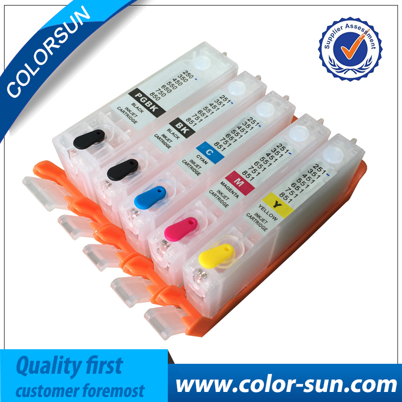5pcs Compatible for Canon BCI-370 BCI-371 BCI370 Refillable Ink Cartridge For Canon PIXMA MG5730 Printer With ARC Chips<br>