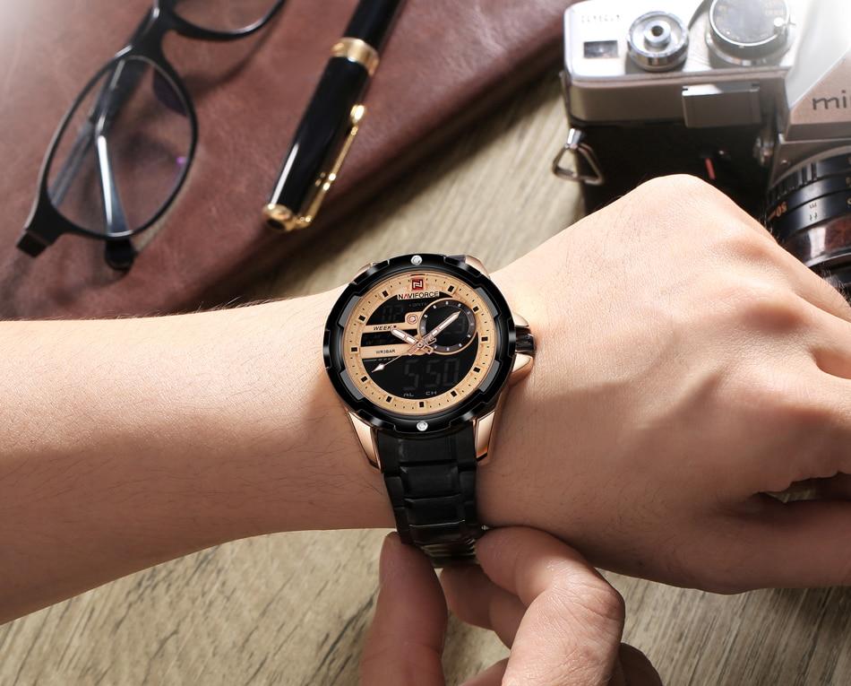 Herrenuhren 2019 Mode Naviforce Männer Uhr Digital Sport Herren Uhren Top Luxus Military Armee Edelstahl Analog Led Quarz Männlichen Uhr 9120