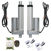 "2 Linear Actuators W/ Remote Control Kit W/ Mounting Brackets DC12V 100mm 4"" Stroke Length 1500N=150KG Force With Speed 5.7mm/s(China)"