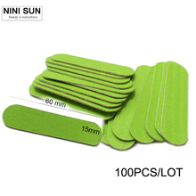 New Fashion Lowest Price 100pcs/lot Wood Nail Files Buffer Buffing Slim Grit Sandpaper Tools Disposable Cuticle Polish Pack(China)