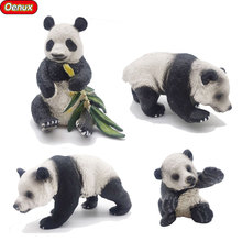 Oenux 4PCS Classic Chinese Animals Panda Solid PVC Model Action Figure Toy Panda Holding Bamboo Posture Animal Toy For Kid Gift