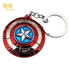 DIANXIA 1pcs New Anime Avenger Captain America Keyring Shield Keychain Can Rotate Anime Lovers Gift Model For Collector(China)