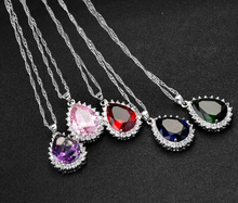 Green Pink Red Blue and Purple 5 Colors Pick AAA CZ Zircon with Rhinestone Water Drop Pendant Fine Wave Chain Necklace for Women