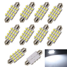 10PCS/Lot 3528 42mm 16 SMD DC12V White LED Bulb Car Light Source Auto Interior Light Dome Festoon LED Lights DRL Lamp Bulbs