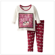 Milk Girls Pajamas Suits Children Tracksuits Long Sleeve T-Shirts Fashion Baby Girl Clothes Set Outfits
