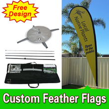 Free Design Double Sided Cross Base Teardrop Flags Banners Flag Signs Advertising Ad Flags Custom Feather Banners(China)