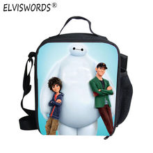 ELVISWORDS Cartoon Characters Lancheira Termica Lunch Bags for Kids Boys Children Mini Lunchbox Insulated Small Lunch Cooler Bag