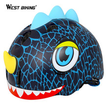 WEST BIKING Dinosaur Cartoon Bicycle Safety Helmet Children's Skate Adjustable Kids Helmet Cycling Scooter Bike Helmet For Kids