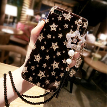 Bling Stars Ultra Case Soft TPU Back Phone Case Cover For iPhone 6 6S 6 Plus 6S Plus For iPhone 7 7 Plus Pendant With Lanyard