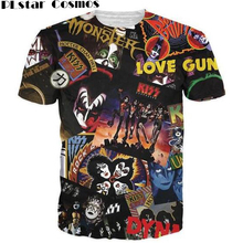 PLstar Cosmo Kiss Fashion 3D design Kiss rock band printed hip hop t shirt men summer  men t-shirt,black color tees