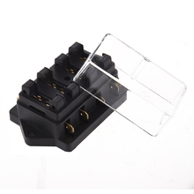 Universal Car Truck Vehicle 4 Way Circuit Automotive Middle-sized Blade Fuse Box Block Holder Black