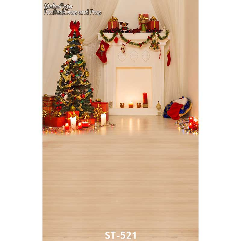 Christmas background vinyl photography backdrops Computer Printed christmas fire place tree and Gift box for Photo studio ST-521<br><br>Aliexpress