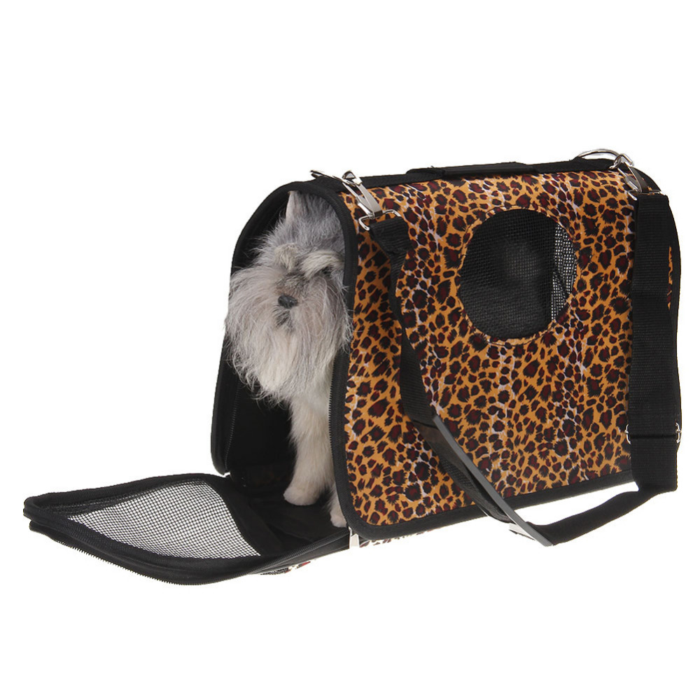 Image Leopard Soft Portable Dog Travel House Kennel Tote Crate Pets Puppy Carrier Bag For Water Feeder Bowl Leash Harness