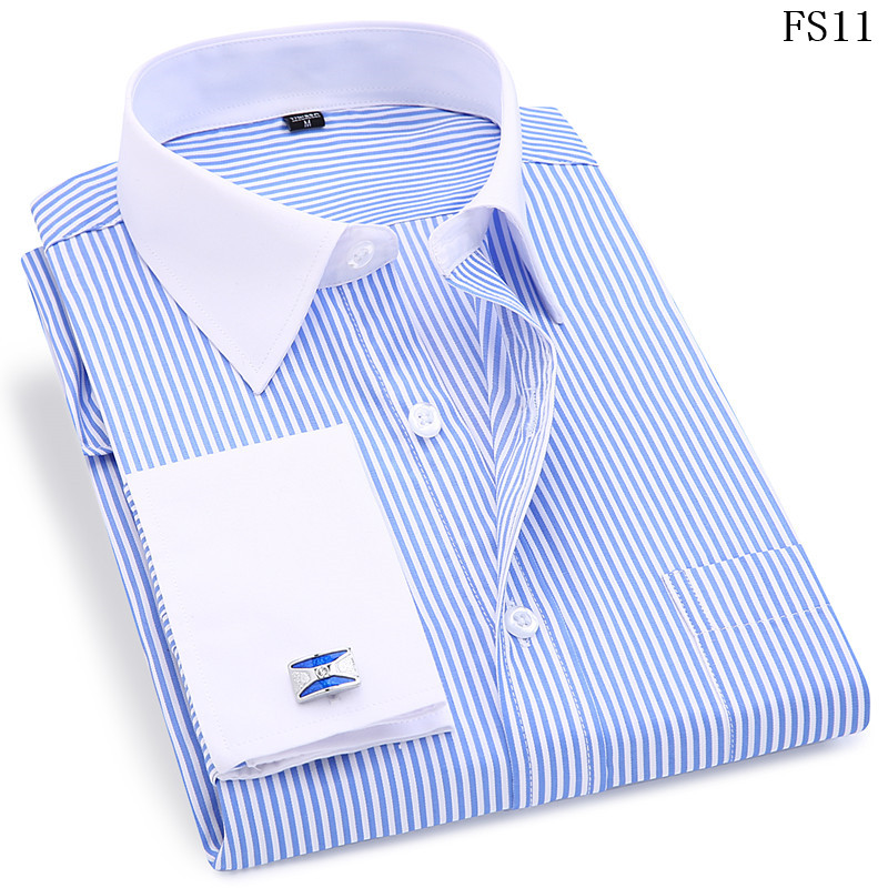 Men French Cufflinks Shirt 19 New Men's Stripes Shirt Long Sleeve Casual Male Brand Shirts Slim Fit French Cuff Dress Shirts 7