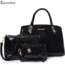 Soperwillton China Brand 2016 Women Bag PU Alligator Print Composite Handbag Bags 3 Pieces/Set European and American Style #1112