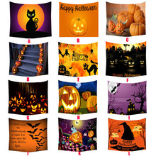 Womail Halloween Pumpkin head Black Cat Print Beach Cover-Ups Wall Hanging tablecloth Tapestry Roomdorm Home Decor 150*130 2017