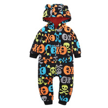 New winter Warm newborn Baby Boy Girl clothes Thicker Skull print striped Hooded Home Romper Jumpsuit Outfit Fleece lowest price