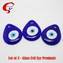 Lot of 3-Classic Blue Water Drop Evil Eye Turkish Eye NAZAR Lucky Eye Pendant Wall Hanging DIY Accessories Free Shipping