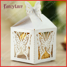 50PCS, Wholesale Elegant Laser Cutting Paper Butterfly Cake Favor Boxes, Candy Box, Chocolate Box for Wedding Decorations