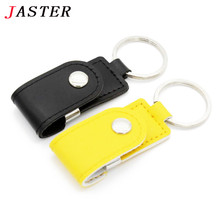 JASTER leather usb flash drive fur key chains pendriver 8gb 16gb 32gb business memory stick 4gb 16gb gift gifts free shipping