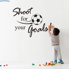 ZOOYOO Shoot For Your Goals Soccer Wall Sticker Sport Home Decor Children Kids Room Decoration Living Room Wall Decals