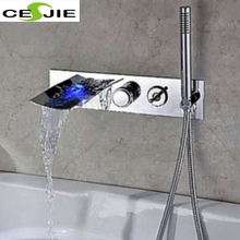 Chrome Wall Mount LED Bathroom Faucet Bathtub Waterfall Spout W/ Hand Shower Tap