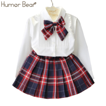 Humor Bear Autumn KidsTracksuit Baby Girl Clothes Girls Clothing Sets Long Sleeve+Grid Skirt +bowknot Casual 3PCS girls suits(China)