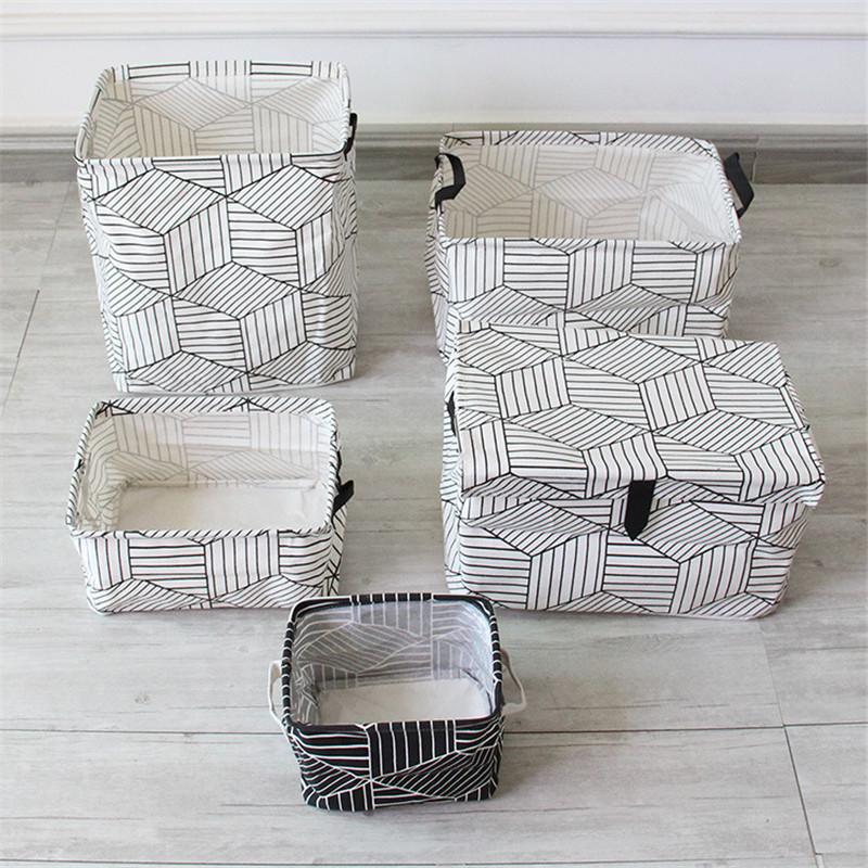 FullLove Home Storage & Organization Cotton Square Nordic Cosmetics Organizer Toys Storage Basket Black Geometric Storage Boxes 10