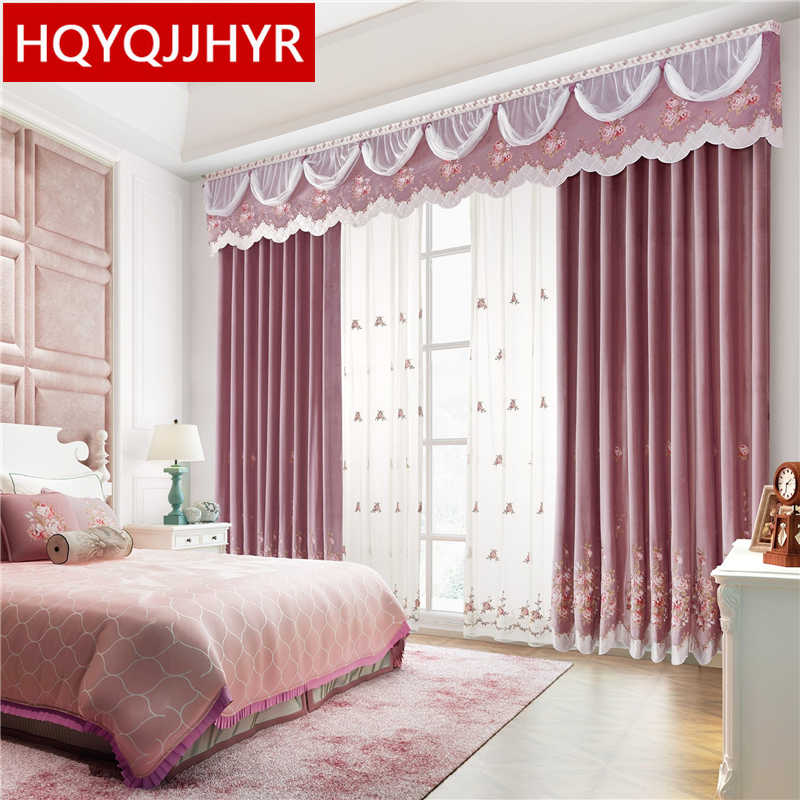 Top luxury high quality pink velvet curtains for Living Room royal aristocratic princess style embroidered curtains for Bedroom