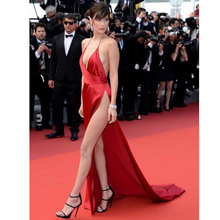 2016 Deep V Neck Backless Bella Hadid Celebrity Dresses Long Red Carpet Dresses with High Slit Evening Prom Party Gowns