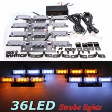 36 LED Flash Boat Truck Car Flashing Warning Emergency Windshield Unit For Police Strobe Light Lamp White Amber
