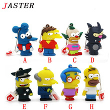 JASTER Silicone Model Bart Simpson Mouse Wolf 1GB 2GB 4GB 8GB 32GB Memory Stick U Disk PenDrive Pen Drive USB Flash Drive