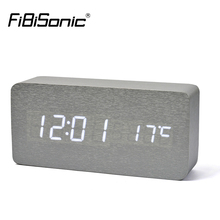 FiBiSonic 17 color Wooden Alarm Clock With Temperature Sound Control Led Digital Clock Electronic Table Alarm Clock