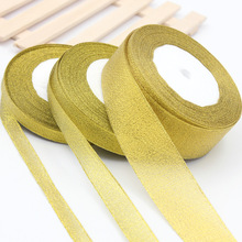 25Yards Long Golden Silk Satin Ribbon Party Home Wedding Decoration Gift Wrapping Christmas New Year DIY Material 6-50MM Wide