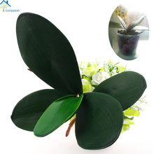 Longpean 1 PCS PU Artificial Green butterfly orchid Leaf Plastic Flower Leaf Home Wedding Party Decoration