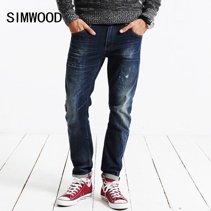 SIMWOOD 2017 New Autumn Winter jeans men fashion hole denim trousers  brand clothing  pants SJ6034Îäåæäà è àêñåññóàðû<br><br>