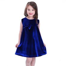 Cute Kids Girls Dress Sleeveless Loose Dresses Girl Clothes Velvet Baby Girls  Party Dress Blue Red Color 3cc800b241fa