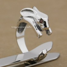 rings for women 925 Sterling Silver Rabbit Red CZ Eyes Fashion Ring 9K003 Free Size 4~6(China)