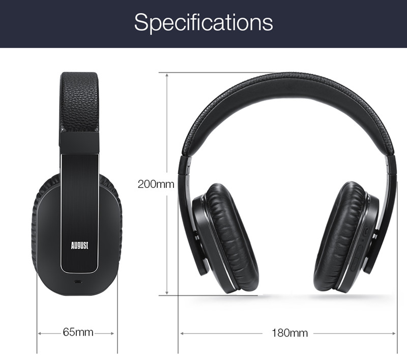 August EP750 Wireless Headphones Active Noise Cancelling_