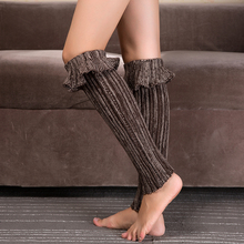 1 Pair Winter Women's Knitting Leg Warmer  Knitted Shell Design Boot Cuffs  Toppers Liner Boot Leg Warmers Flanging Socks