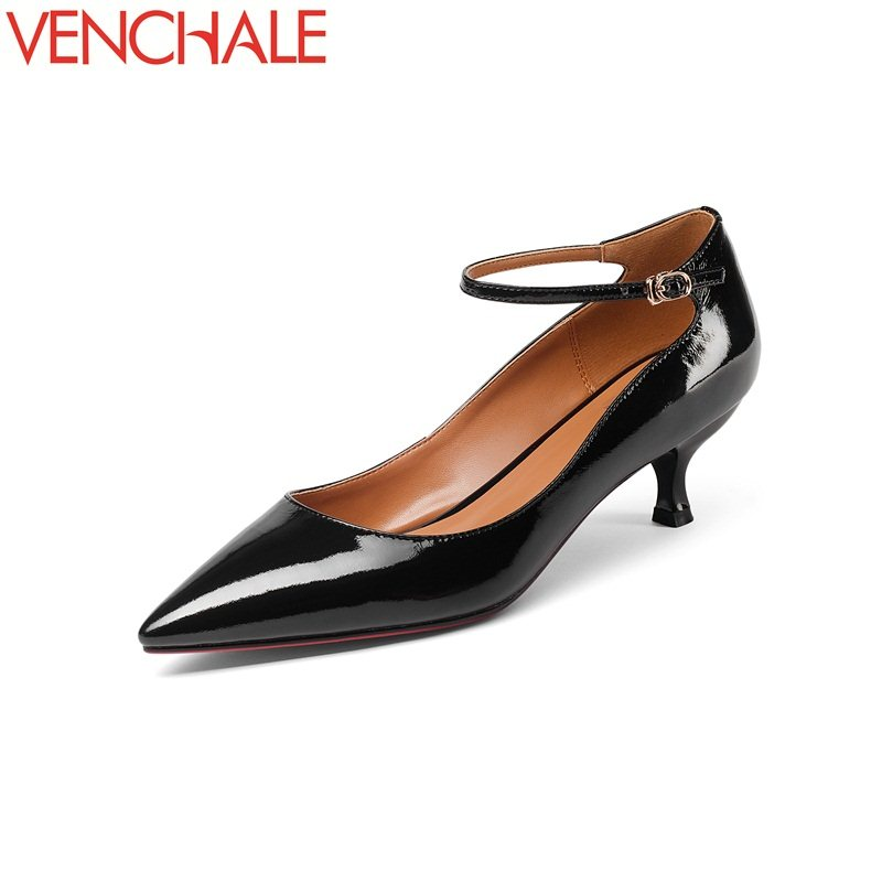 VENCHALE woman mature buckle engagement skid resistance large size footwear ankle shoes patent leather absorb sweat solid pumps<br>