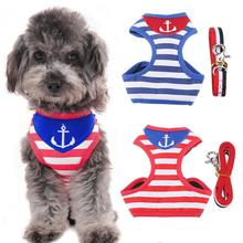 Pet Walking Harness and Leash Kitty Puppy Clothes Harness Vest Jacket Navy Style A(China)