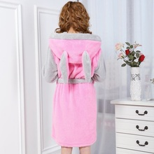 Girl's Animal Cartoon Pink Robes For Women Long Sexy Robe Rabbit Stitch Cow Seep Animal Flannel Pyjamas Bathrobe Women Nightgown