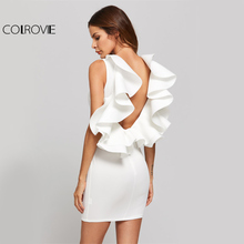 COLROVIE Ruffle Backless Sexy Bodycon Dress 2017 White Elegant Women Party Club Mini Dresses Exaggerated Frill Sleeveless Dress(China)