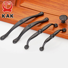 KAK American Style Black Zinc Alloy Handles Cabinet Drawer Knobs Wardrobe Door Handles Pulls Furniture Handles(China)