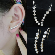 Punk Style Rhinestone Ear Cuff Wrap Earring Silver Piercing Ear Cartilage Women Men Party Statement Ear Clips Jewelry For Women