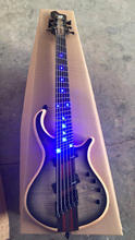 Custom shop 6 strings multi scale Setius bass guitar;Blue LEDS on ebony fretboard;fanned frets bass free shipping(China)